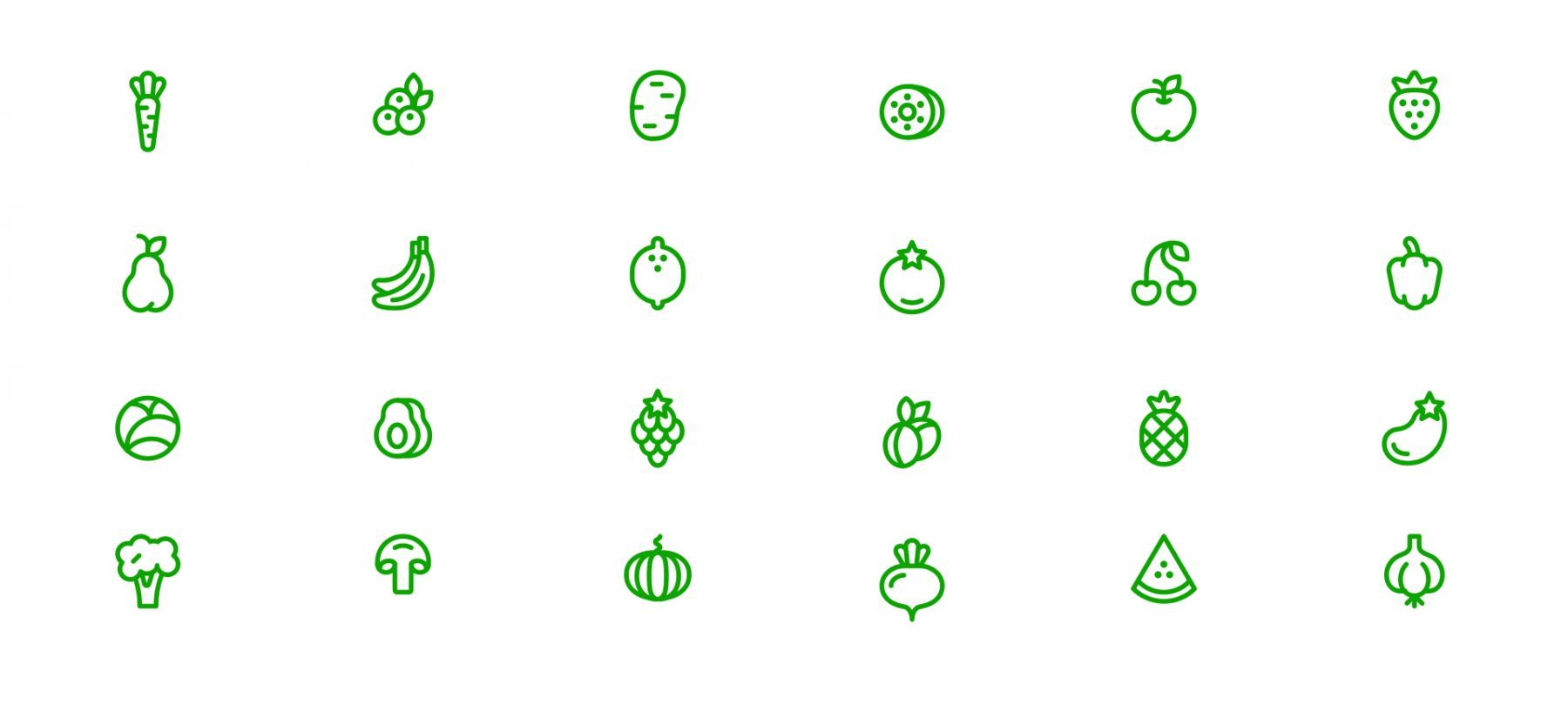 Go Veggie icons of fruits and vegetables