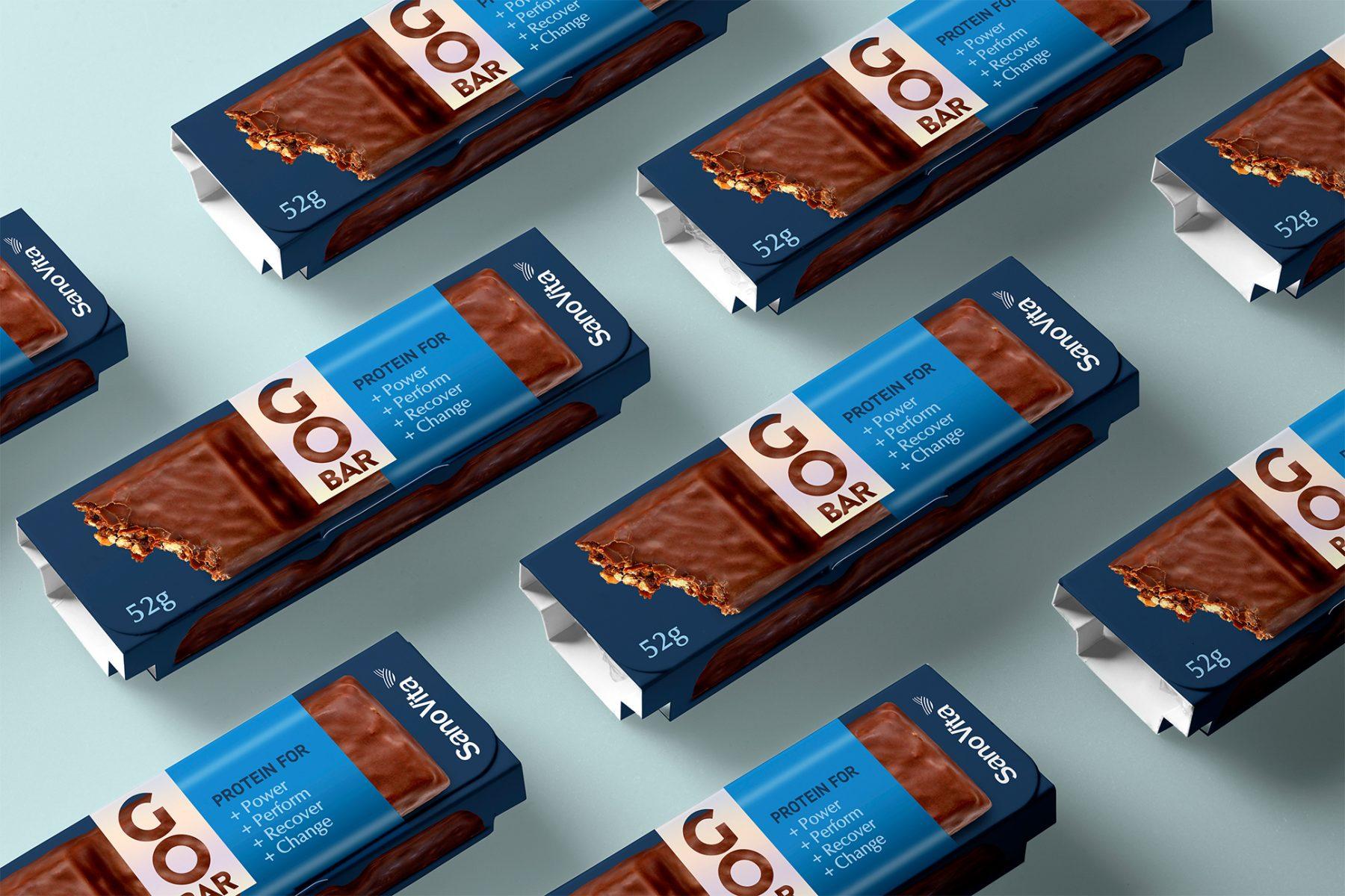 Go Bar baton proteic design eticheta gustare sanovita BroHouse